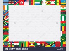 background with African countries flag icons frame Stock