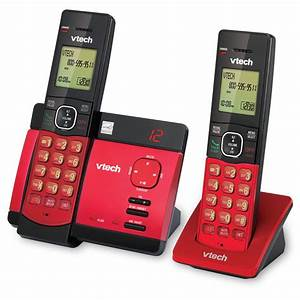 2 Handset Red Cordless Phone With Digital Answering System