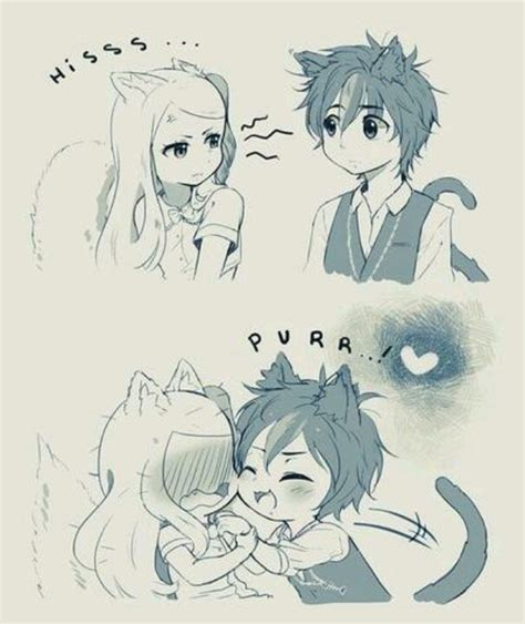 anime couple and cat drawn hug funny anime pencil and in color drawn hug