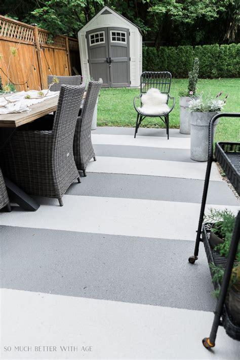 painted concrete slab  brick pavers  year