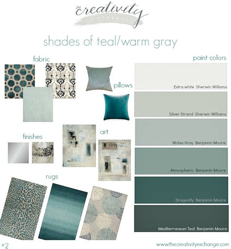 shades of teal paint colors layered with warm gray great