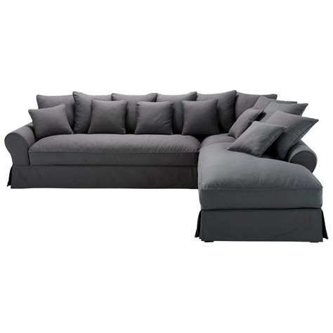 angle de canapé canapé d 39 angle droit 6 places en coton gris ardoise