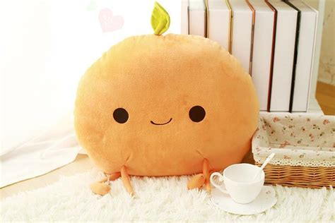 candice guo super cute plush toy cartoon fruit peach orange pear stuffed creative cushion