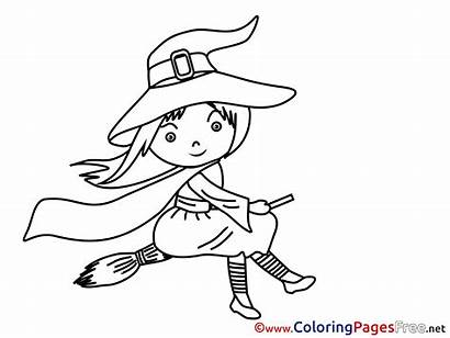 Witch Coloring Pages Halloween Printable Broom Sheet