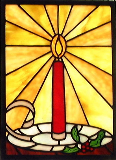 Christmas Candle Stained Glass Window  Small Christmas