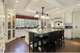 Minimalis Large Kitchen Islands With Seating Gallery White Kitchen With Large Square White Island And Dark Stools