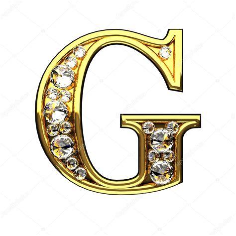 G Letras Doradas Aisladas Con Diamantes Sobre Blanco