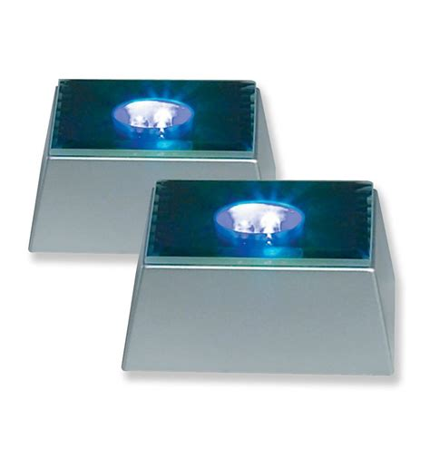 merchandise display base led lighted silver mirrored
