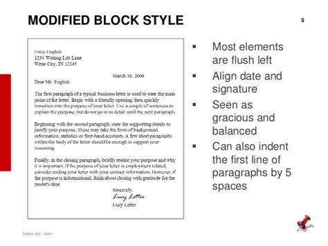 modified block business letter  letters