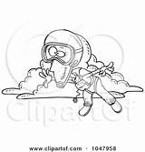 Skydiving Cartoon Outline Woman Clip Skydiver Parachute Coloring Clipart Illustration Poster Rf Royalty Toonaday Gnurf Clipartof sketch template