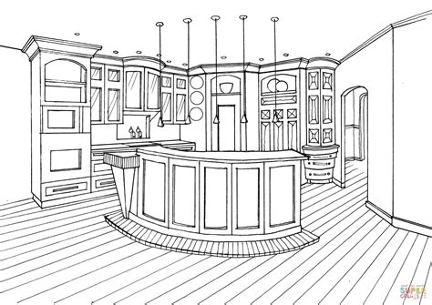 kitchen coloring page kitchen with bar counter coloring page free printable 3384