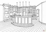 Coloring Kitchen Bar Counter Drawing Printable Interior Paper Drawings sketch template