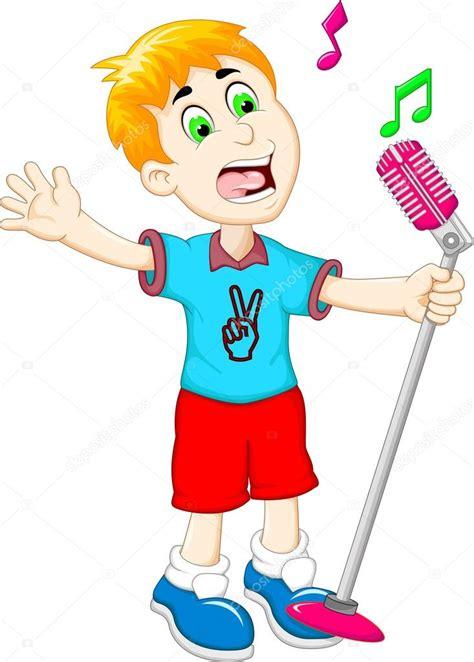 engraçado desenho menino cantando Fotografias de Stock