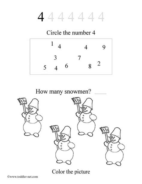 free number 4 worksheet