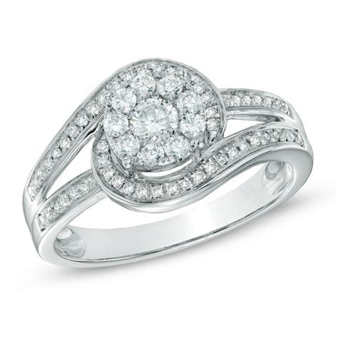 1 2 ct t w cluster swirl engagement ring in 14k white gold wedding zales