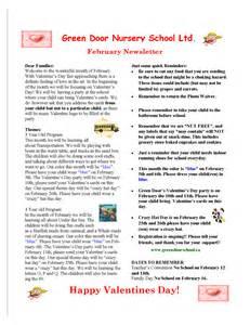 February Preschool Newsletter Template