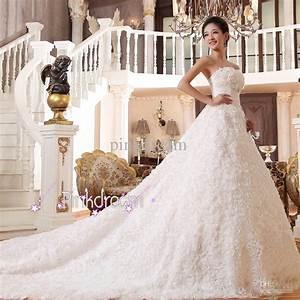 Discount Handmade Flower Long Train Bridal Dress Strapless