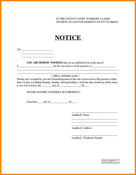 eviction notice florida template eviction notice template word portablegasgrillweber
