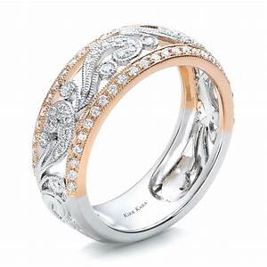 two tone gold filigree and diamond women39s band kirk kara With wedding rings filigree womens