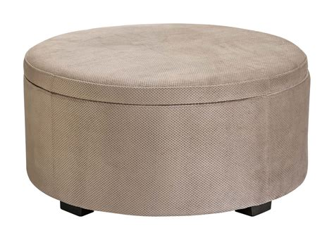 Furniture: Brown Round Upholstered Ottoman