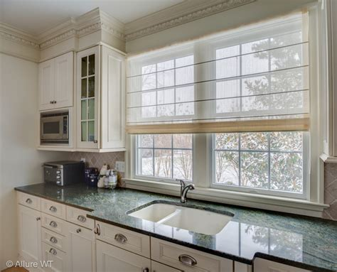 modern window treatments for kitchen double kitchen window gets a sheer roman shade contemporary kitchen philadelphia by