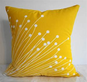 Starburst Yellow Pillow Covers Decorative Throw by pillows4fun