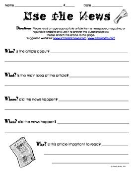 Use The News  Current Events Article Worksheethomework Tpt