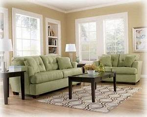 Ashley zia kiwi light green sofa set simple add some for Light green sectional sofa