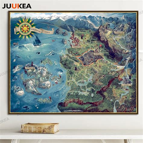map  witcher  wild hunt art canvas print painting