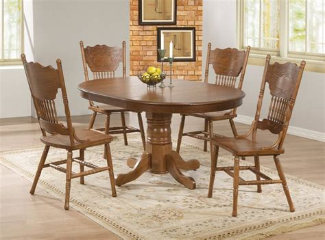 oak dining room sets 5 pc country oak wood dining room set pedestal base 18 quot leaf 104261 contemporary dining sets