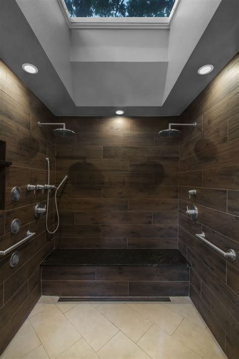 walk  shower  wood  tile double rain shower