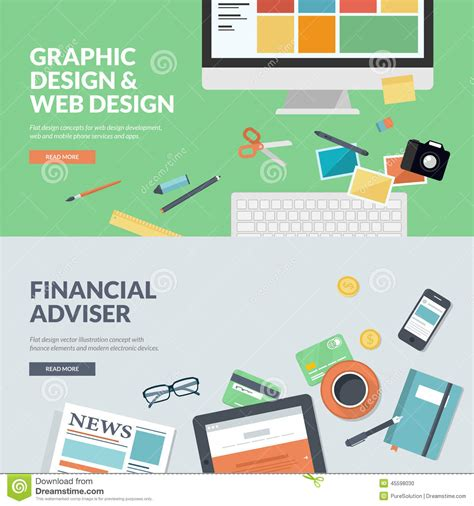 graphic design website flat design vector illustration concepts for web design