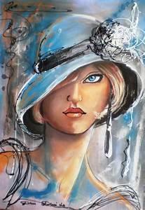 Peinture Visage Femme : dam domido blue eyes portrait expressioniste sur toile portraits de femme pinterest ~ Melissatoandfro.com Idées de Décoration