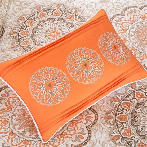 Coverlet Quilts by New Cal King Beige Orange Medallion 6 Pc Quilt