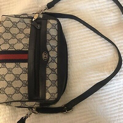 vintage gucci monogram shoulder bag purse authentic vinyl pvc stripe  ebay
