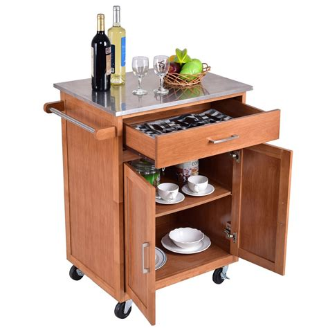 Kitchen Cart Rolling by Wooden Kitchen Rolling Storage Cabinet With Stainless