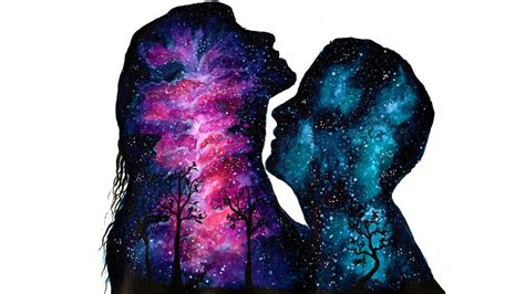 galaxy love double exposure speed painting watercolor