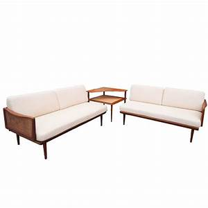 Peter hvidt and orla molgaard nielsen sectional sofa with for Sectional sofa with corner table