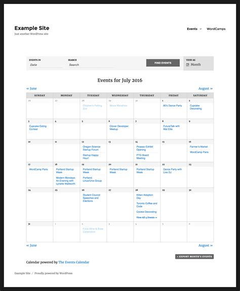 Community Events Calendar Template by The Events Calendar Org