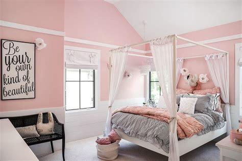 pink canopy bed transitional girls room veranda