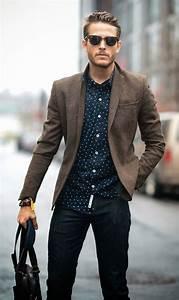Style Vestimentaire Homme 30 Ans : tenue chic avec une chemise motif et un blazer marron look tenue men mode ropa masculina ~ Melissatoandfro.com Idées de Décoration
