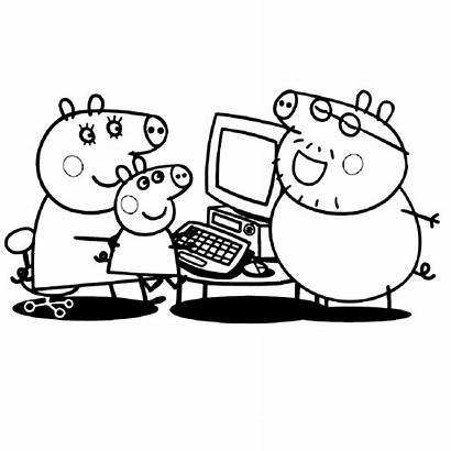 Peppa Computer Kleurplaat Kleurplaten Werken Pig Biggetje