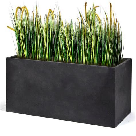 bac à fleurs rectangulaire bac 224 fleurs polystone l80 h41 cm gris plomb plantes et jardins