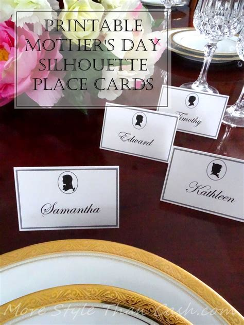 printable mothers day silhouette place cards