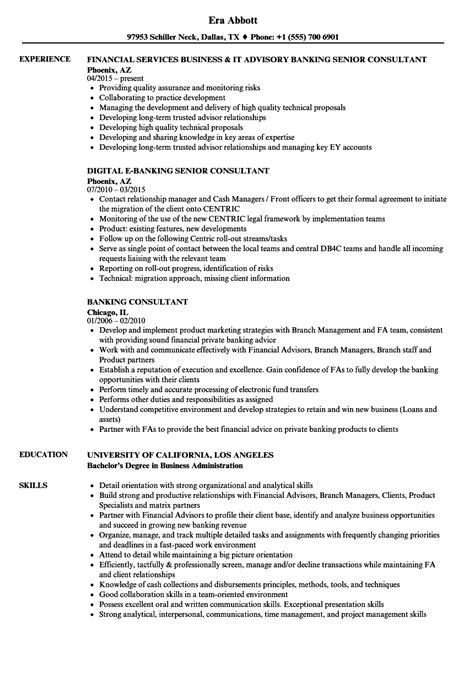 banking consultant resume sles velvet