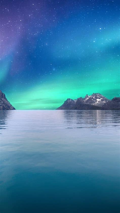 wallpaper aurora borealis northern lights seascape