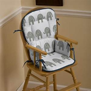 Navy and Gray Elephants High Chair Pad Carousel Designs