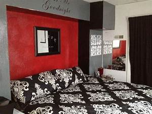 Red black gray bedroom decorating pinterest gray for Black and red bedroom ideas