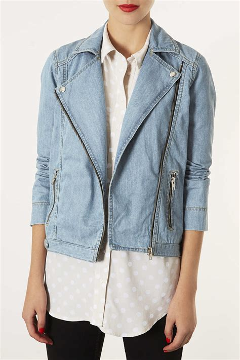 moto biker jacket lyst topshop moto blue denim biker jacket in blue
