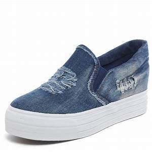 Jeans Women Canvas Shoes Cut-out Platform Casual Shoes Denim Ladies Flat Walking Shoes Chaussure ...